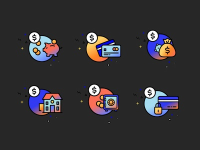 Bankrate Icons score mortgage financial credit card savings bank money vector gradient texture illustration icons