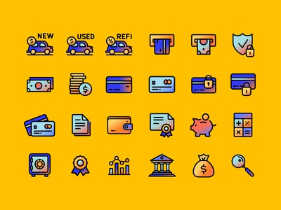 Bankrate Icons II icons illustration texture gradient vector money bank savings credit card financial mortgage score