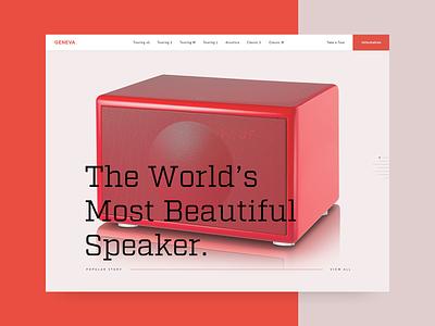 Geneva Speakers Landing Page Hero experience web music brand interaction type typography ui product minimalism geometic ux digital