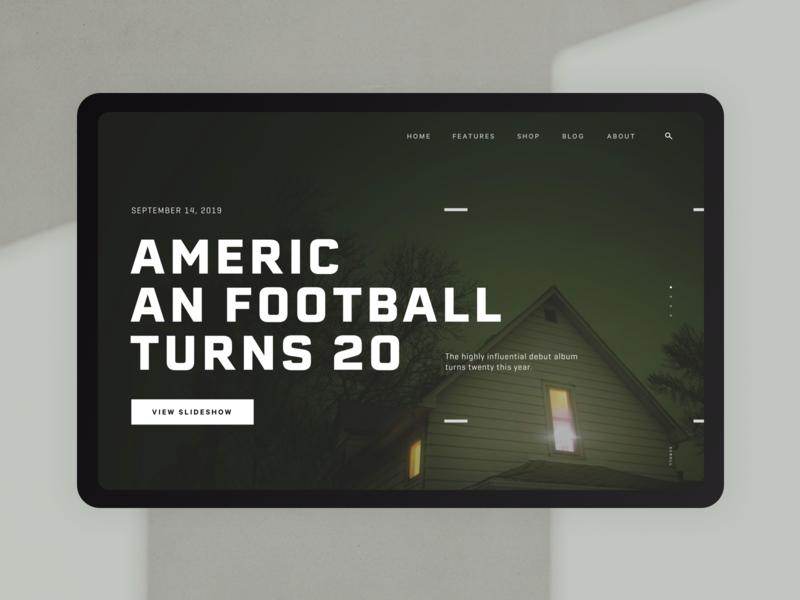 American Football Article Hero scroll button navigation digital website webdesign typography ui layout web vinyl music album