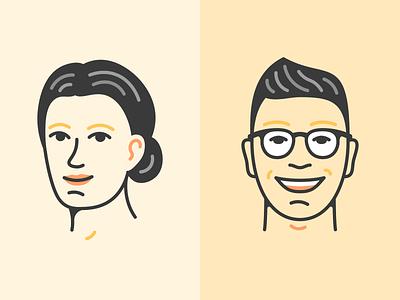Historic Staff Illustrations icon design cartoon character agency line art vector illustrator avatar fun monoline simple minimal staff portrait picture illustration