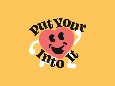 Put Your Heart Into It character design cardio running smile classic clean typography type run happy love valentine beat heart cartoon illustration character
