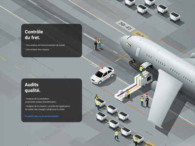 S3 Security France Landing page UI Desktop Illustrations airport illustration airplane illustration plane isometric illustration isometric security service french x-ray security graphic design airport website ui landing page landing ui illustration