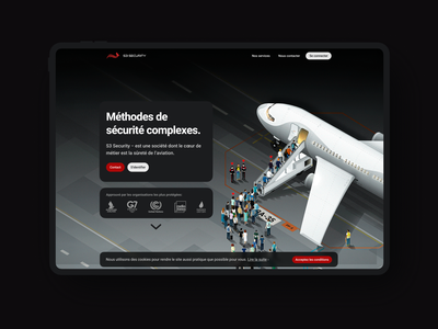 S3 Security France Landing Page UI First Screen. guard illustration security website ui ux ui design isometric airport illustration graphic design french airport illustration airplane illustration