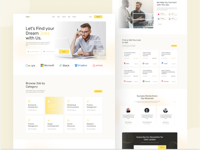 Landing page exploration on job web application Jobs In uiux landing page hireme landing job board trendy design job search trendy dailyui web design joblisting landing page design jobs 2021 trend