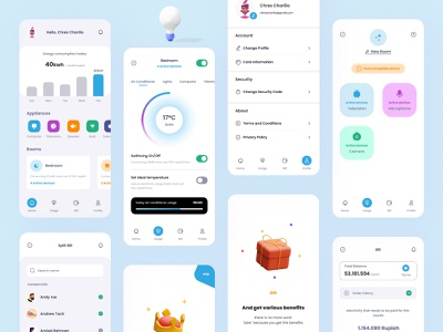 Smarthome App Kits: Dishome 🏡 debut shot debutshot debut graphic design air conditioner ui uiux gradient smartapp app design full pack minimalist bill ux smart home app smart home smarthome home decor home app
