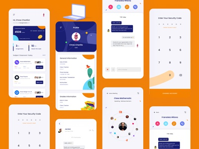 School Design Kits : Brillians School 🏫 online course course project student school app university kit8 kit kits students school typography icon logo branding illustration design ui ux app