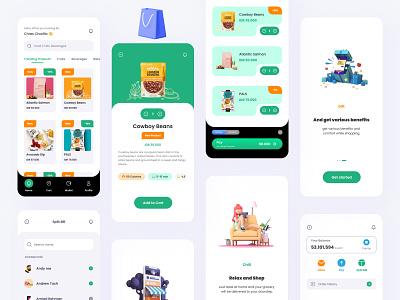 Grocery Market Kits : Grocerly 🛒 marketplace marketing grocery online grocery store grocery list groceries grocery app market grocery kit kit8 full pack kits logo branding illustration design ui ux app