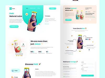 Beverage Products Landing Page - Petit product online shop ecommerce web website graphic design 3d landing page beverage design branding app ux ui