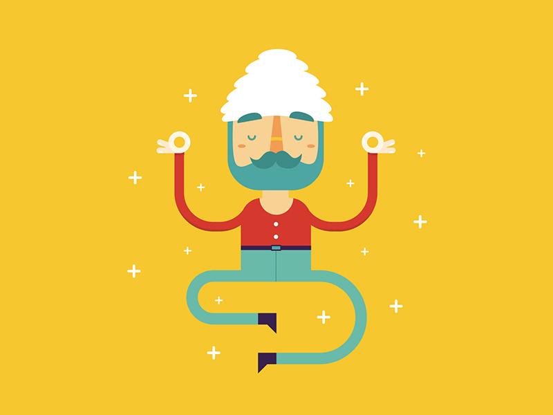 Tech Guru illustration flat web guru meditate stars float