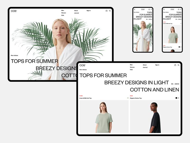 COS 2020 fullscreen e-commerce white minimal ux ui concept clean web grid