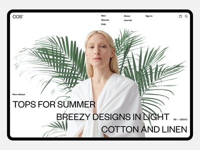 COS 2020 fullscreen e-commerce white minimal ux ui concept clean web grid