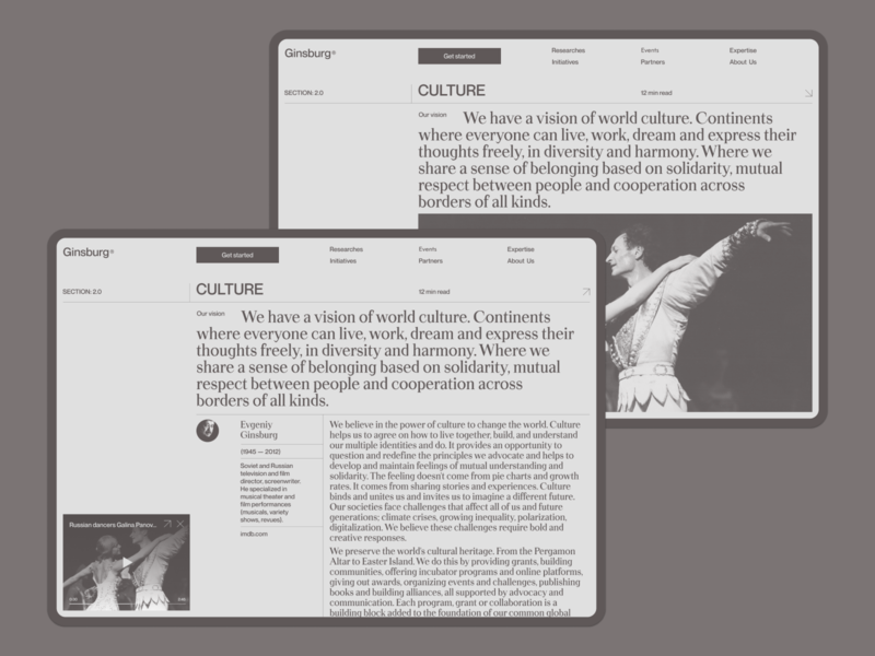 Ginsburg Culture fullscreen website responsive minimal ux ui concept clean web grid