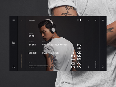 B&O Play ux ui technology speakers music minimalistic innovation headphones grid fullscreen concept audio