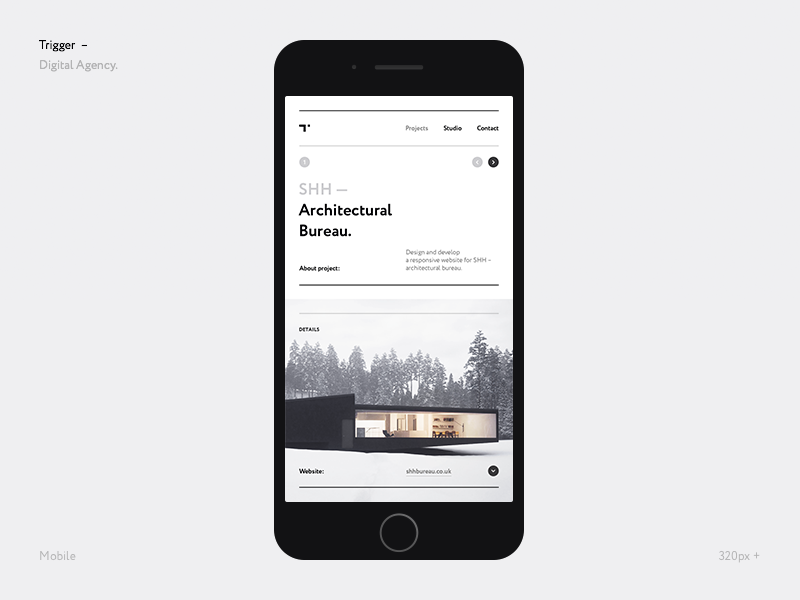 Trigger Mobile white website web responsive portfolio mobile minimal grid concept clean agency