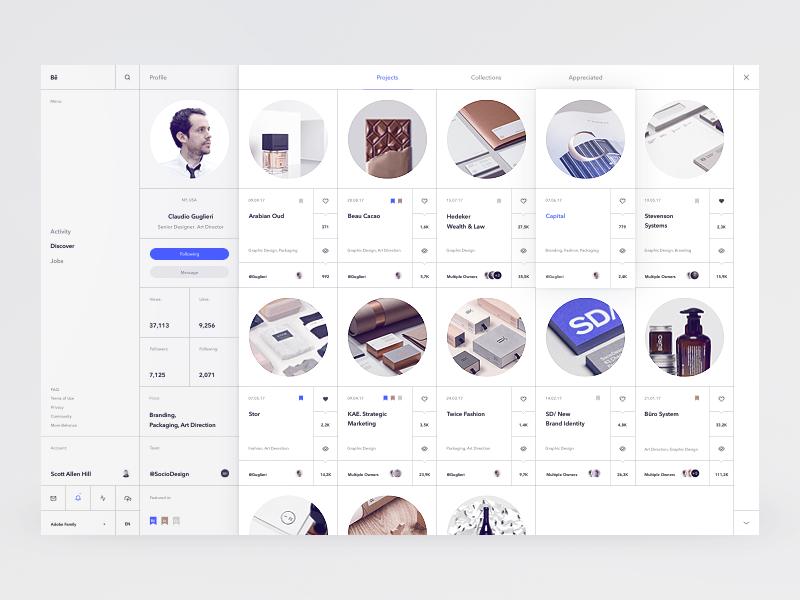 Bēhance Rethink Concept minimalism pure clean ux ui grid white whitespace sketch dashboard concept behance