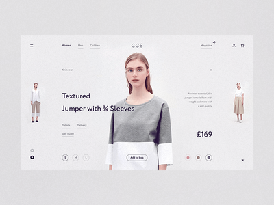 COS wip white website web responsive minimal grid fullscreen concept clean e-commerce desktop