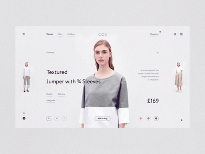 COS wip white website web responsive minimal grid fullscreen concept clean e-commerce desktop
