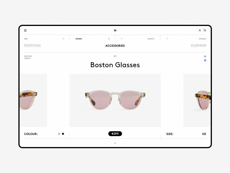 Norse wip website web responsive minimal grid grey fullscreen e-commerce desktop concept clean