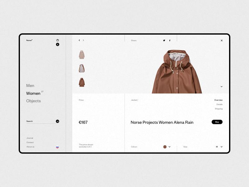 Norse Store wip website web responsive minimal grid white fullscreen e-commerce desktop concept clean