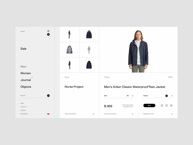 Norse Store. Product card. wip desktop e-commerce fullscreen web grid white ux ui minimal responsive concept clean