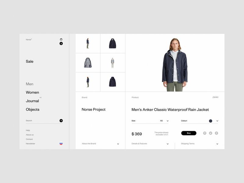 Norse Store. Product card. wip desktop e-commerce fullscreen web grid white ux ui minimal responsive concept clean