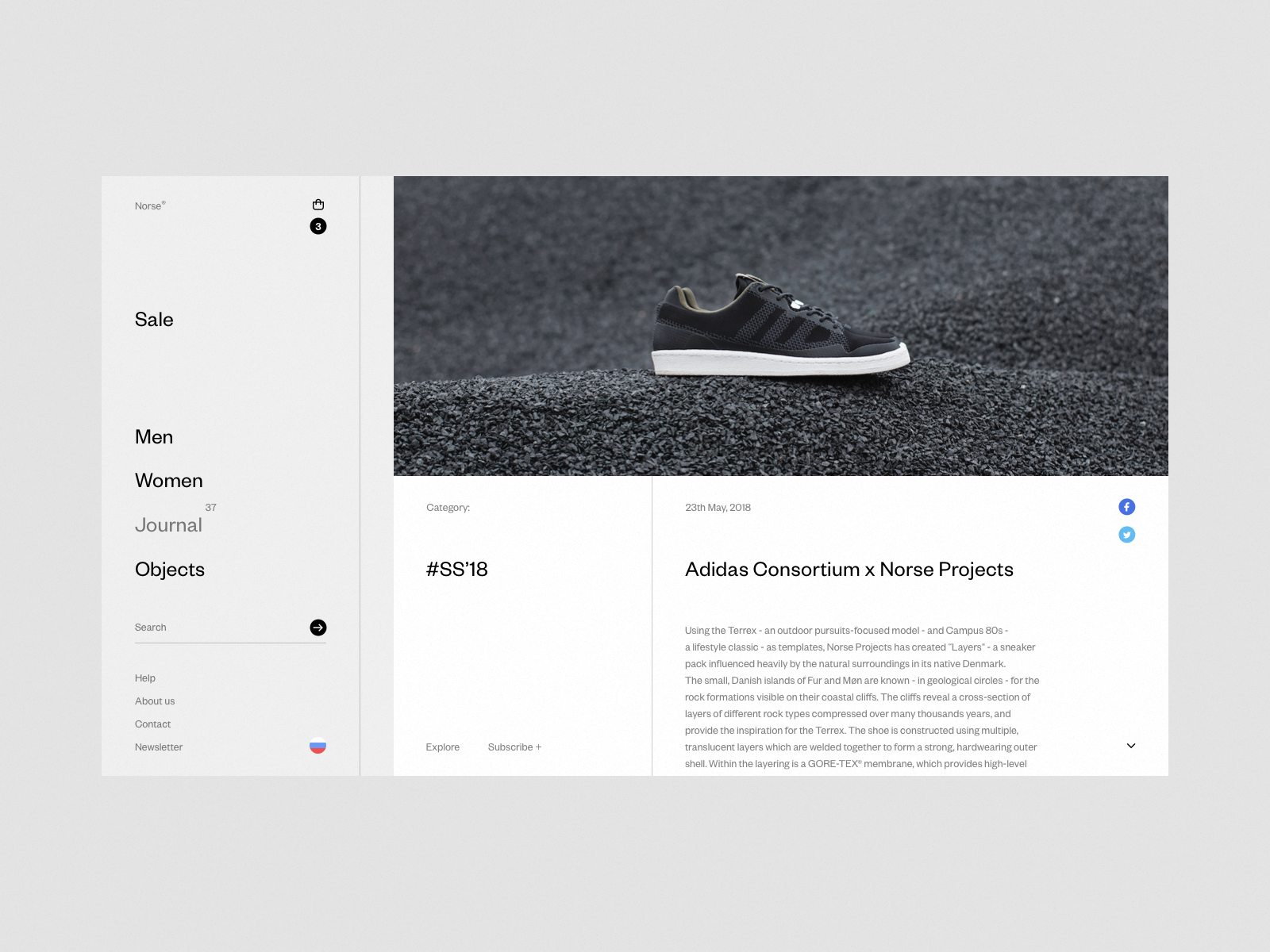 Norse Store. Journal. white wip web desktop minimal e-commerce fullscreen ux ui grid concept clean responsive