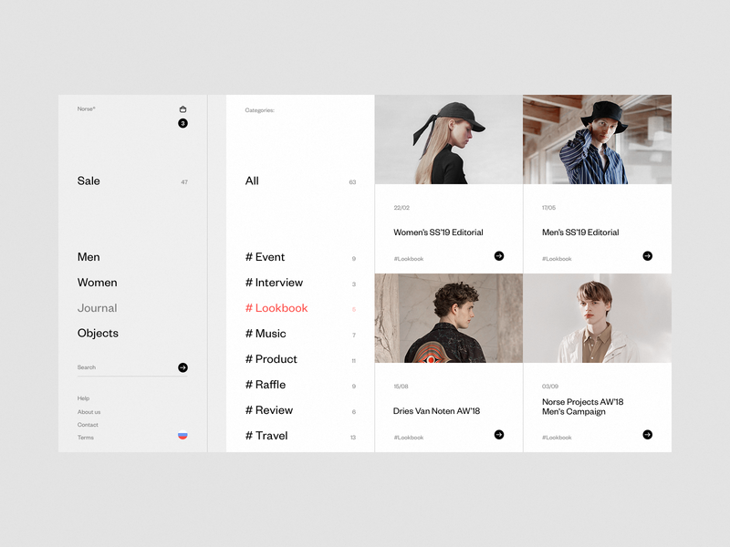 Norse Store. Journal #2 desktop website e-commerce white fullscreen wip minimal ui ux responsive concept web clean grid