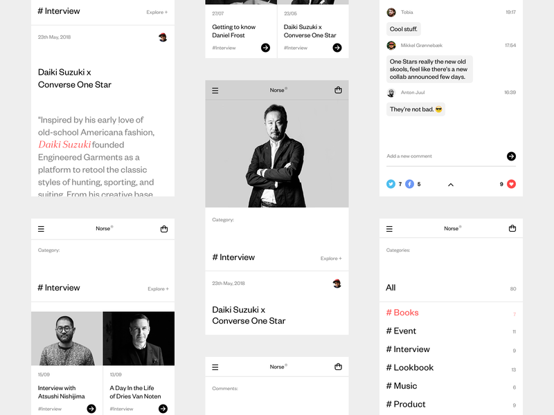 Norse Store. Journal Mobile. iphone mobile e-commerce white wip minimal website ux ui responsive concept clean web grid