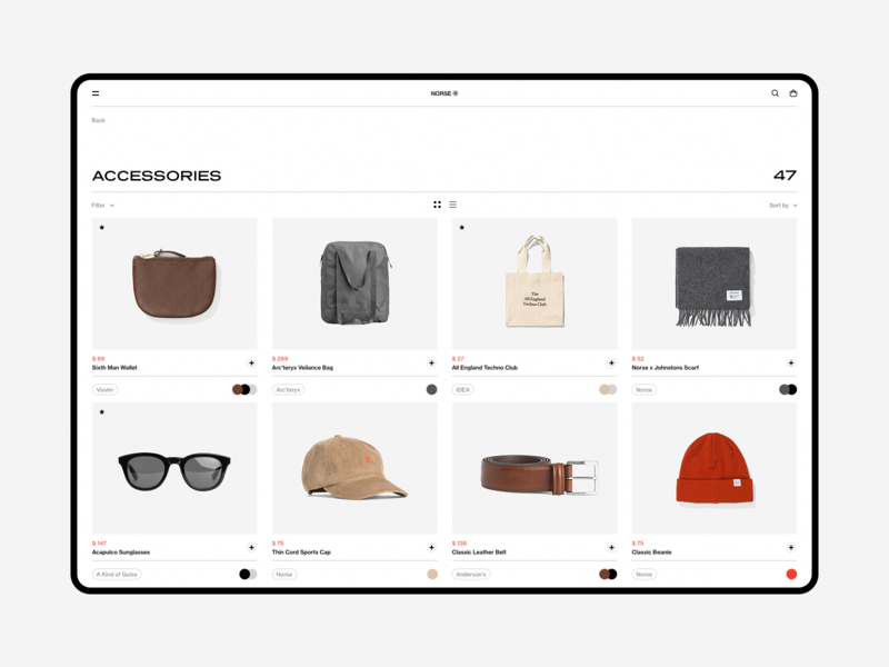 Norse Store. minimalism sketch dashboard store shop desktop e-commerce white fullscreen wip minimal website ux ui responsive concept clean web grid