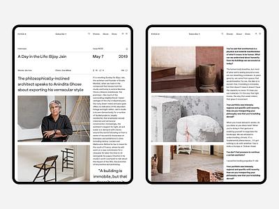 Kinfolk article ipad sketch editorial blog minimalism desktop fullscreen white wip minimal website ux ui responsive concept clean web grid