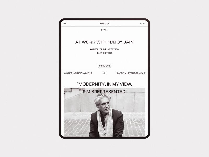Kinfolk article blog editorial ipad tablet design minimalism desktop white wip minimal website ux ui responsive concept clean web grid