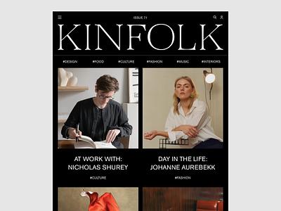 Kinfolk wip minimal website ux ui responsive concept clean web grid