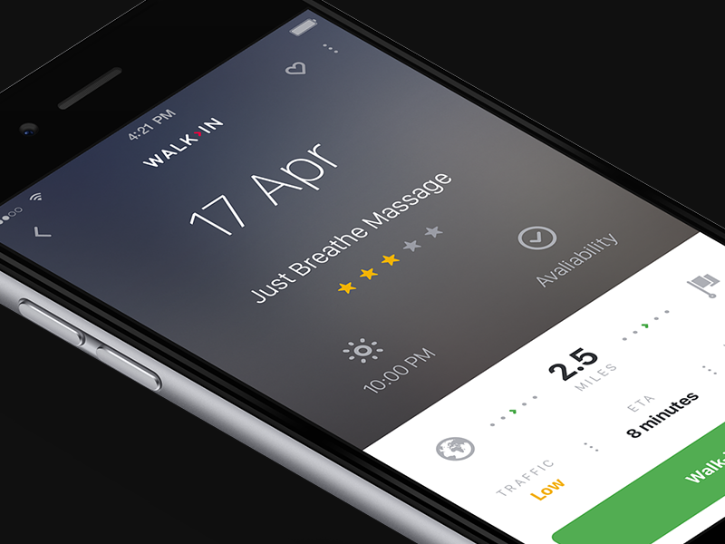 Walk In App freelance new concept ux venue navigation walk mobile iphone ui
