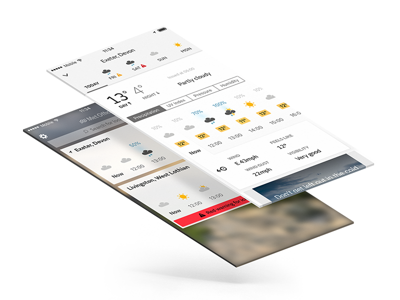 Met Office App Layers sunny ux ui new icons weather app mobile metoffice