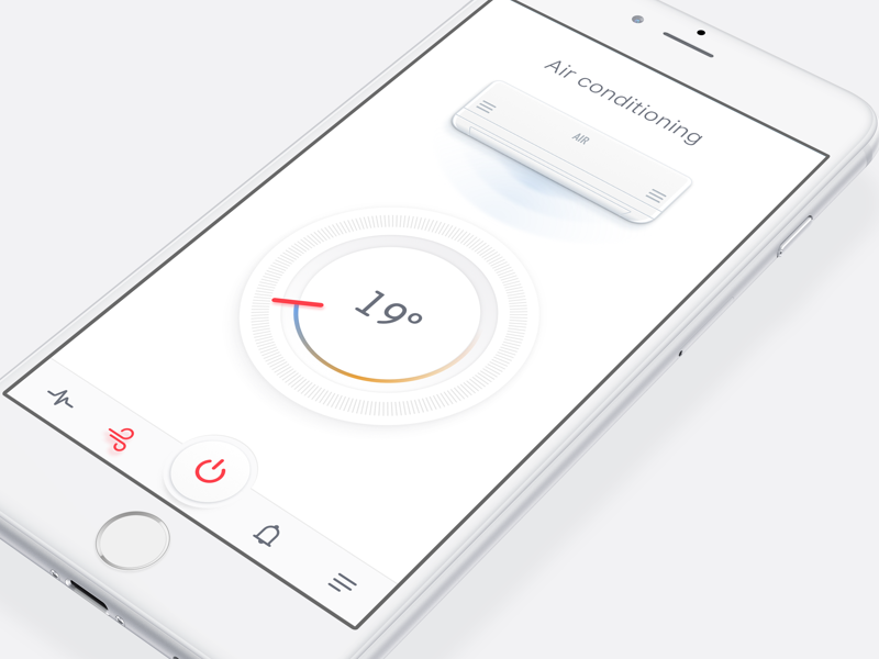 Air conditioning concept ios app mobile ui icon free sketch illustration