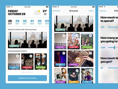 Fun match filter weather event london mobile ux ui sketch challenge idea tab app