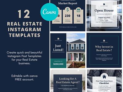 Real Estate Instagram Templates designs socialmedia ig instagramposts instagram post instagram realestate real estate realtor layout design canva template templates templatedesign template
