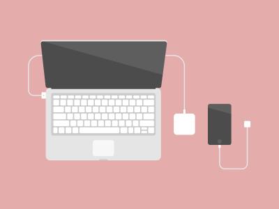 Essentials flat charger iphone macbook illustration