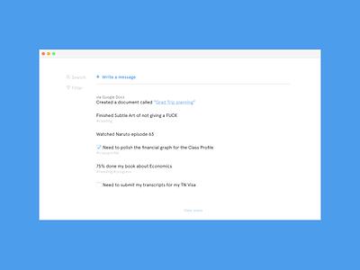 Side project app desktop todos tasks messaging minimal ui design