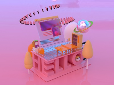 Hello Dribbble! Are you ready? illustration watermelon citypop arcade pokemon office isometric debut shot first shot welcome hello 3d