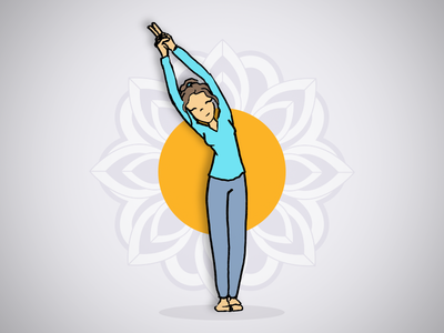 Yoga Pose posture stance pose orange blue mandala design graphic zen illustration yoga