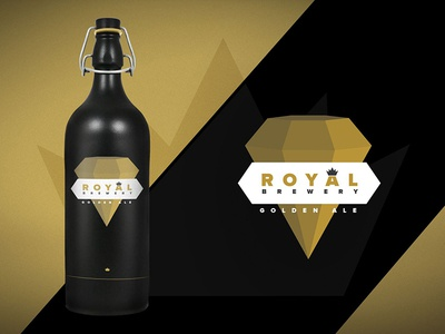 Royal Brewery - Golden Ale royal gold beer brewery kings ale label design