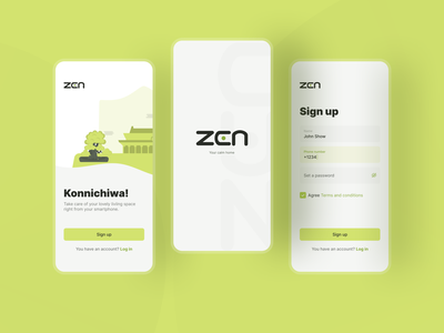 Sign Up screens start home mobile smart home zen form application app design green splash welcome screen registration login sign in sign up app