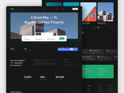 Realm · Real Estate Website house rent minimalist webdesign properties house rent property real estate landing page website web design ux ui design clean app