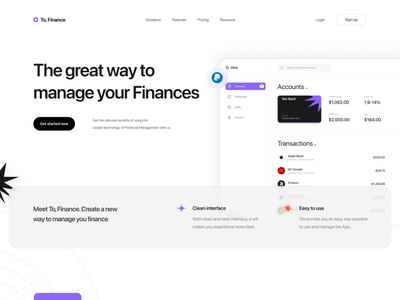 To, Finance  ·  Financial Management App fintech banking financial app desktop ui design minimal financial management management financial finance website web design ux ui design clean app