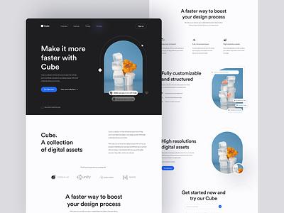 Cube · UI Assets Landing Page ui kit ui design interface user interface web typography ui asset illustration website web design ux ui app design minimal clean landing page