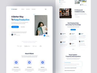 Study Together! · Community Landing Page website design minimal web design design clean ux ui homepage website landing page online learning student class college education school community courses learning study