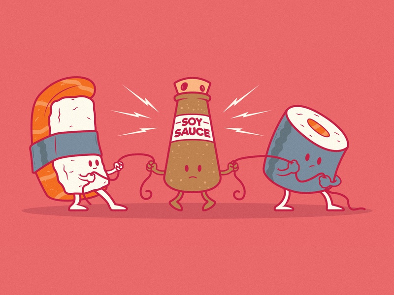 Sushi Fight draw logo branding illustration inspiration graphic design colors character vector