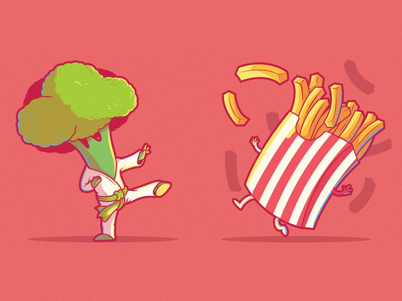 Fast Food Fight colors draw logo branding illustration inspiration graphic design character vector